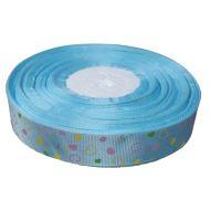Лента репсовая голубая сердечки 25 мм