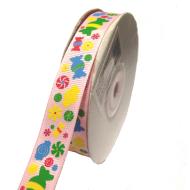 Лента репсовая конфетки светло-розовая 15мм