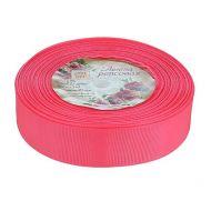Лента репсовая неоново-розовая 25 мм