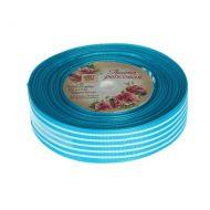 Лента репсовая полоски голубая 25мм