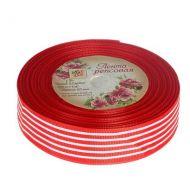 Лента репсовая полоски красная 25мм