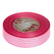 Лента репсовая полоски розовая 25мм