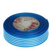 Лента репсовая полоски синяя 25мм
