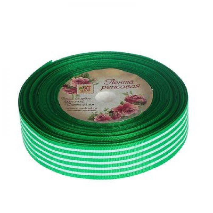 Лента репсовая полоски зелёная 25мм для скрапбукинга