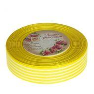 Лента репсовая полоски жёлтая 25мм
