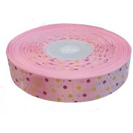 Лента репсовая розовая цветные точки 25 мм