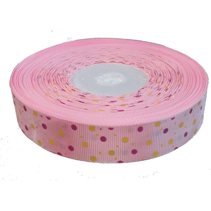 Лента репсовая розовая цветные точки 25 мм для скрапбукинга