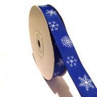 Лента репсовая снежинки на синем
