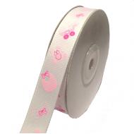 Лента репсовая все для малышей розовая 15мм