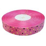 Лента репсовая ярко-розовая цветные точки 25 мм