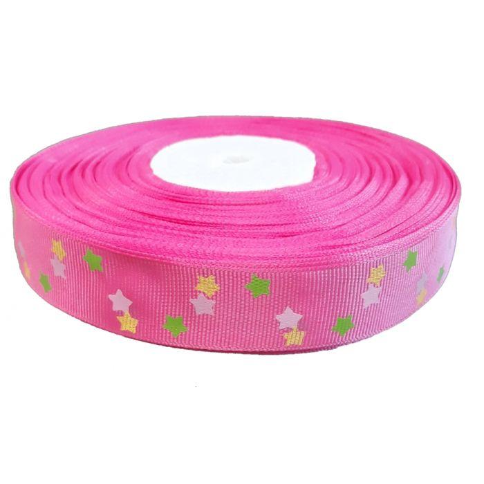 Лента репсовая ярко-розовая яркие звезды 25 мм для скрапбукинга
