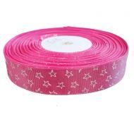Лента репсовая ярко-розовая звездочки 25 мм