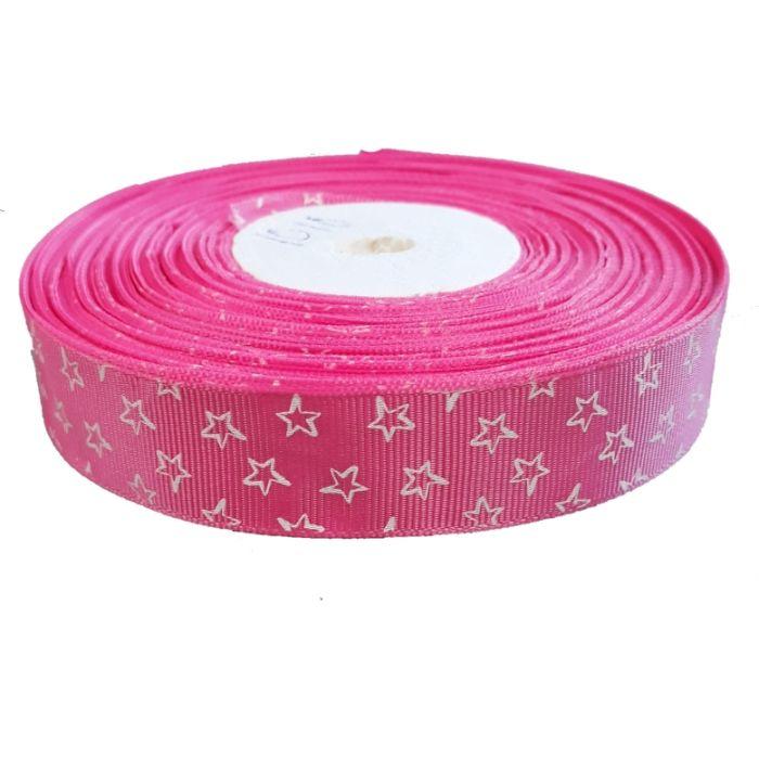 Лента репсовая ярко-розовая звездочки 25 мм для скрапбукинга