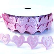 Лента сердца розовые 20мм