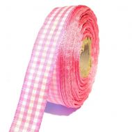 Лента шотландка бело-розовая 15мм