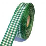 Лента шотландка бело-зелёная 15мм