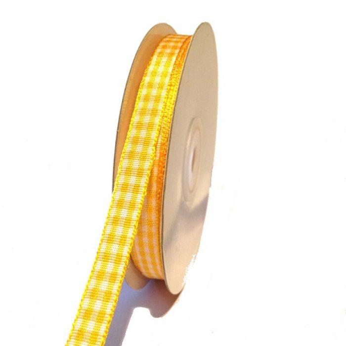 Лента шотландка бело-жёлтая 9мм для скрапбукинга
