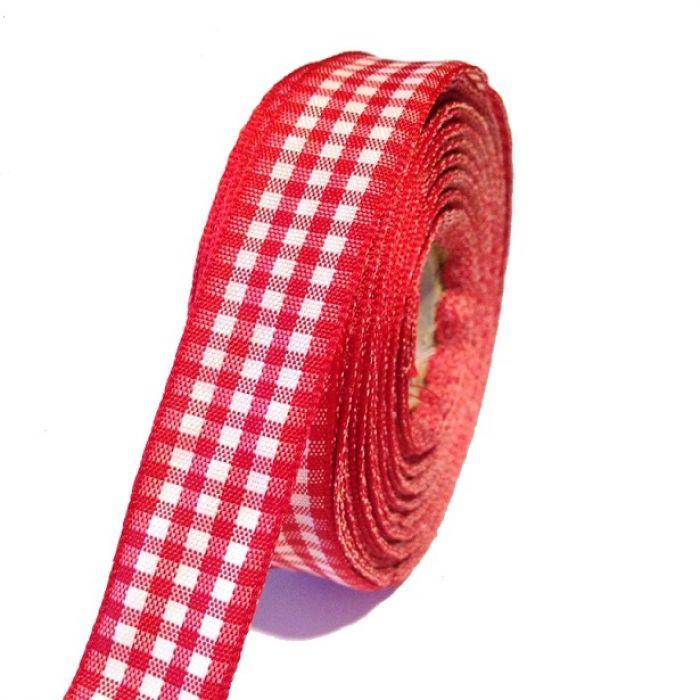 Лента шотландка красно-белая 15мм для скрапбукинга
