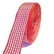 Лента шотландка красно-белая 30 мм
