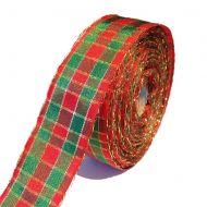 Лента шотландка красно-зелёная с люрексом