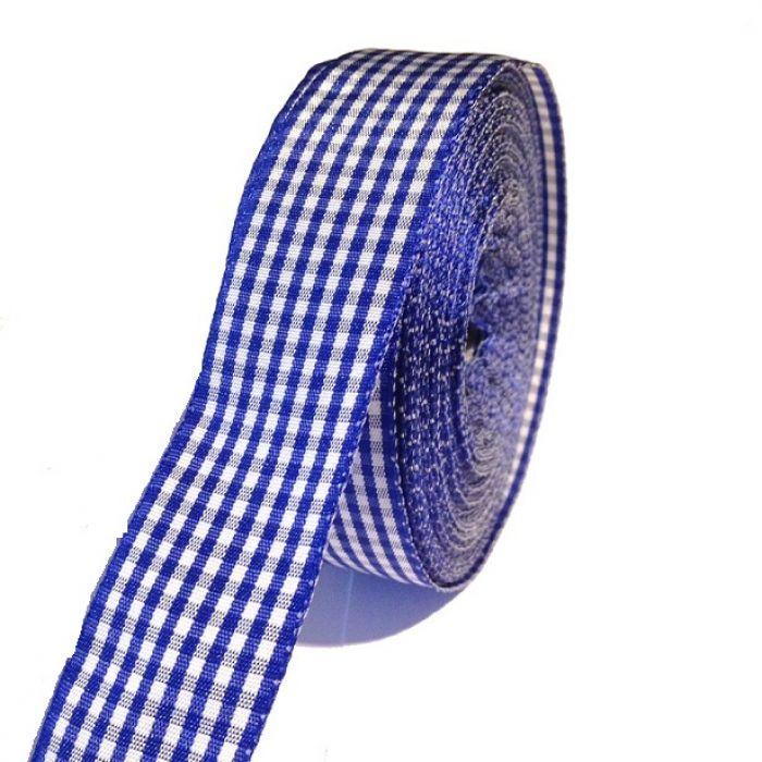 Лента шотландка сине-белая 30 мм для скрапбукинга