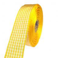 Лента шотландка жёлто-белая 30 мм