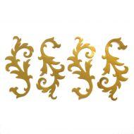 Лиственные завитки, вырубка из золотой бумаги