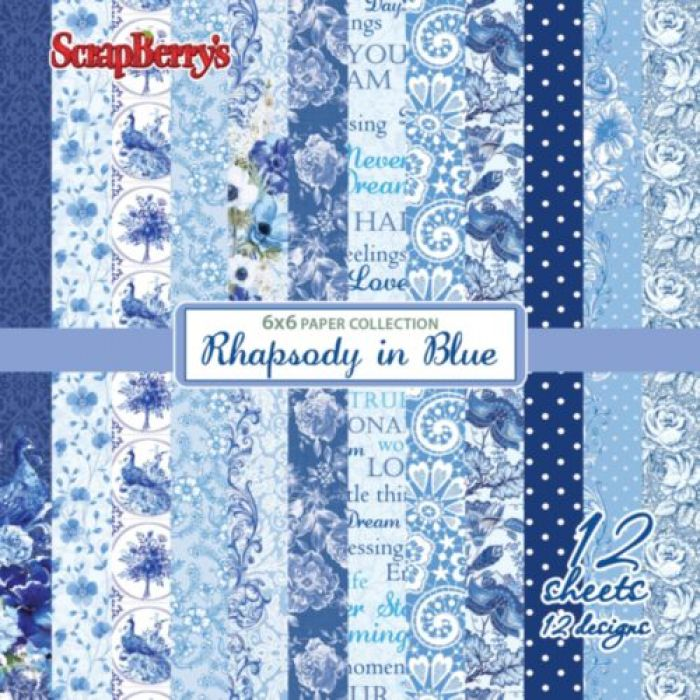 Набор бумаги ноктюрн в голубых тонах 15х15 см для скрапбукинга