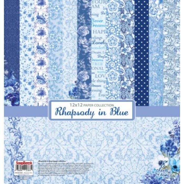 Набор бумаги ноктюрн в голубых тонах 30,5 х 30,5 см для скрапбукинга