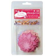 Набор бумажных цветов с розовыми и сиреневыми брадс