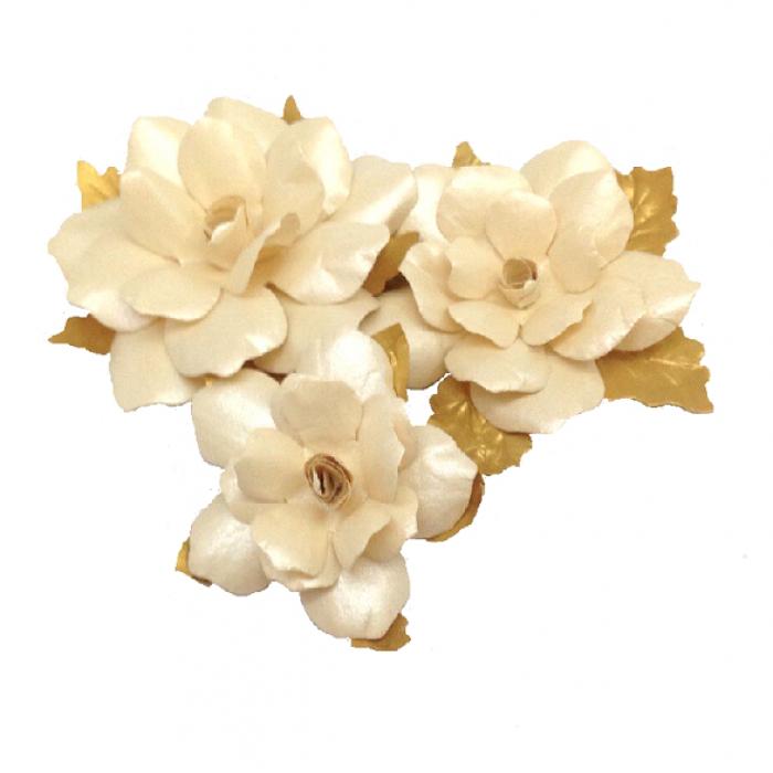 Набор цветов праздничных бежево-золотых для скрапбукинга