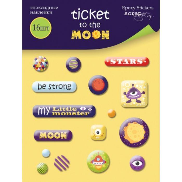 Набор эпоксидных наклеек Ticket to the Moon для скрапбукинга