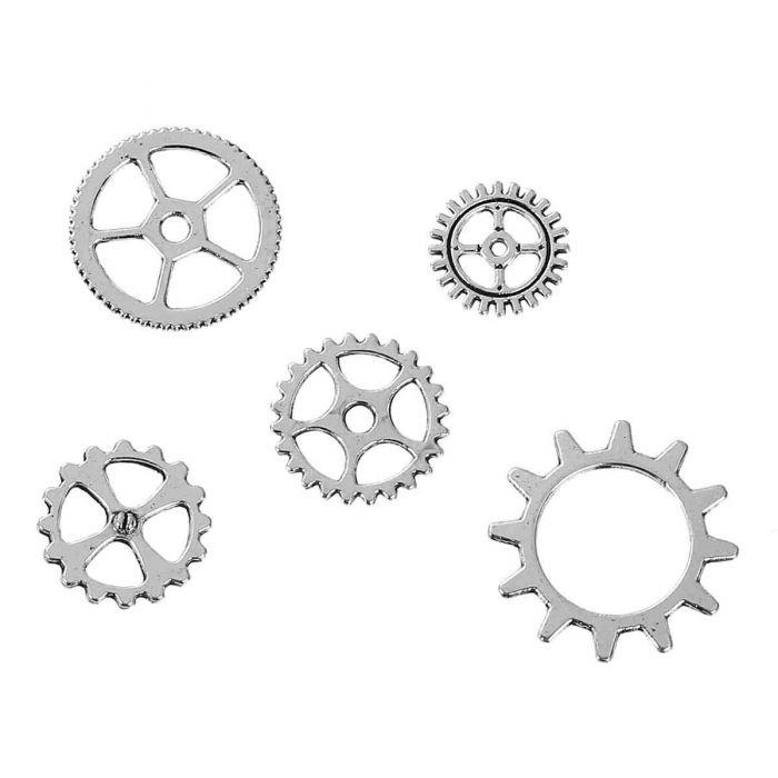 Набор металлических шестерёнок серебряных для скрапбукинга