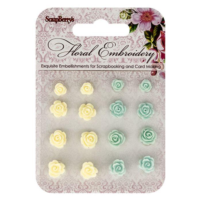 Набор объемных цветочков цветочная вышивка 3 для скрапбукинга