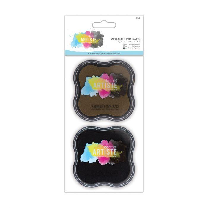 Набор штемпельных подушек быстросохнущих коричневый и чёрный для скрапбукинга