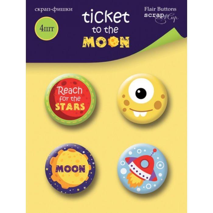 Набор скрап-фишек Ticket to the Moon для скрапбукинга