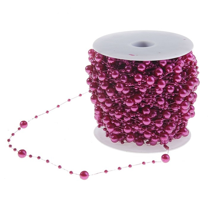 Нить из бусинок шарики, цвет фиолетовый для скрапбукинга
