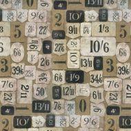 Отрез ткани бежевые номера, коллекция Элементы эклектики