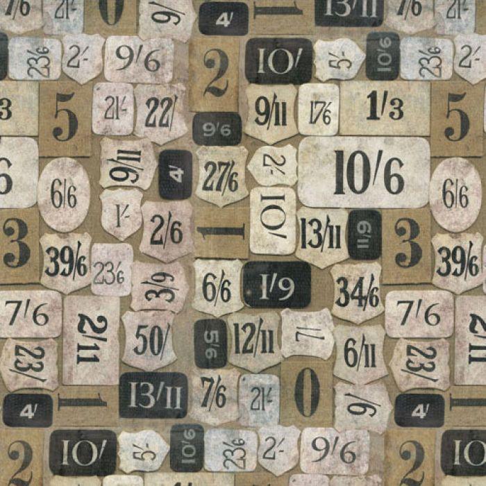 Отрез ткани бежевые номера, коллекция Элементы эклектики для скрапбукинга