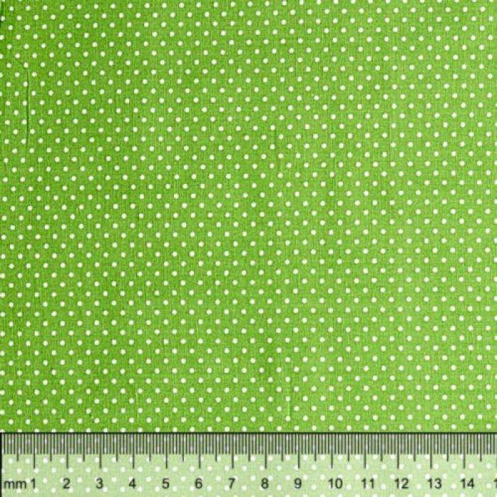 Отрез ткани горошек на зелёном для скрапбукинга