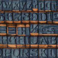 Отрез ткани синие буквы, коллекция Элементы эклектики