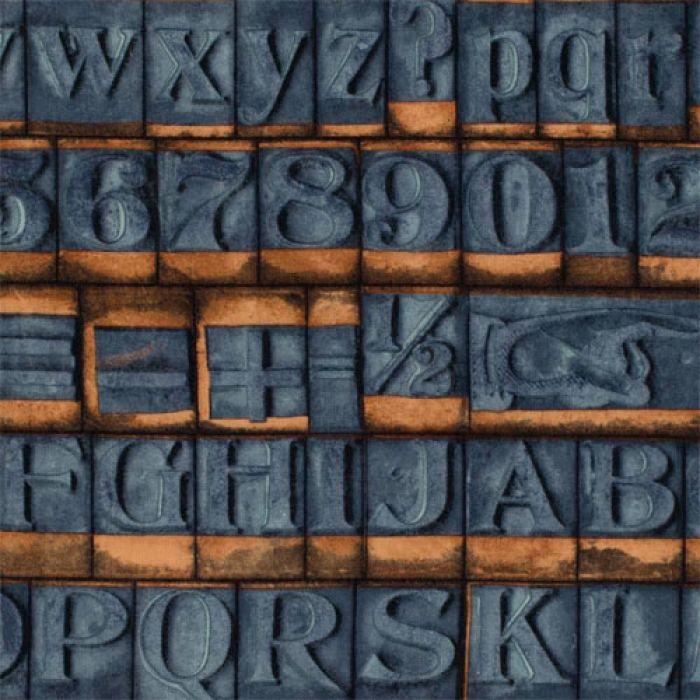 Отрез ткани синие буквы, коллекция Элементы эклектики для скрапбукинга