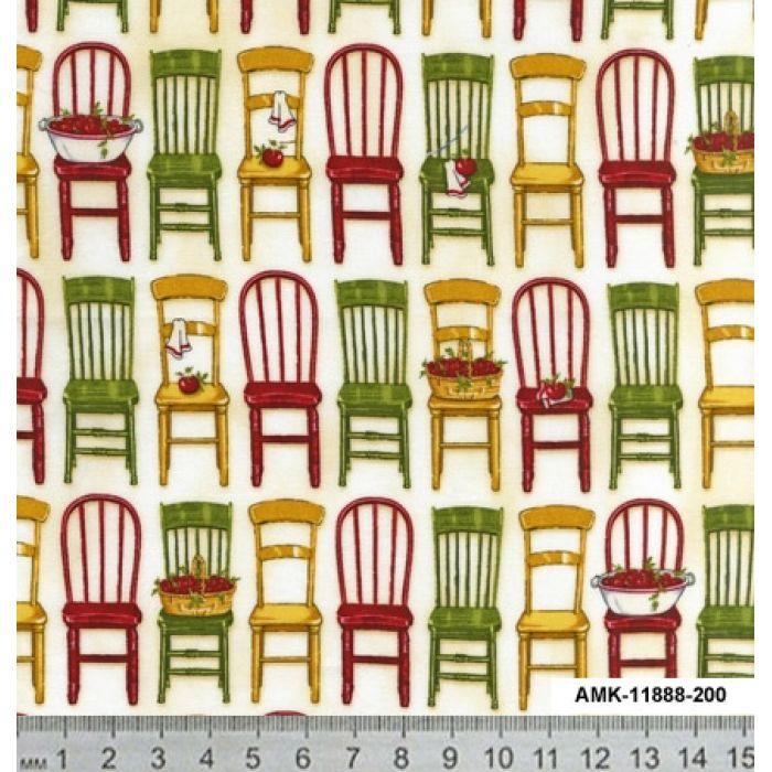 Отрез ткани стулья на белом, коллекция любимая кухня для скрапбукинга