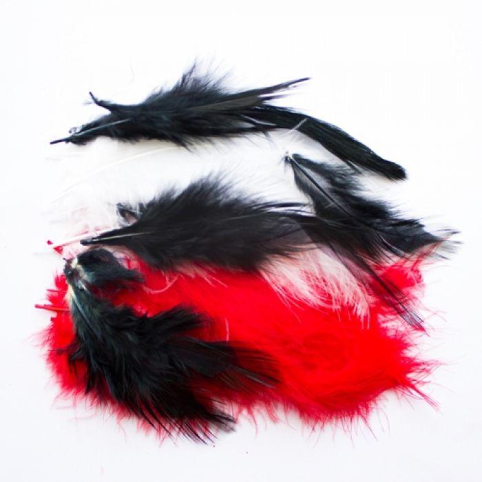 Перья чёрные, белые, красные для скрапбукинга