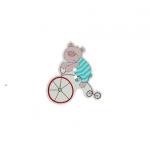 Пуговица мишутка на велосипеде