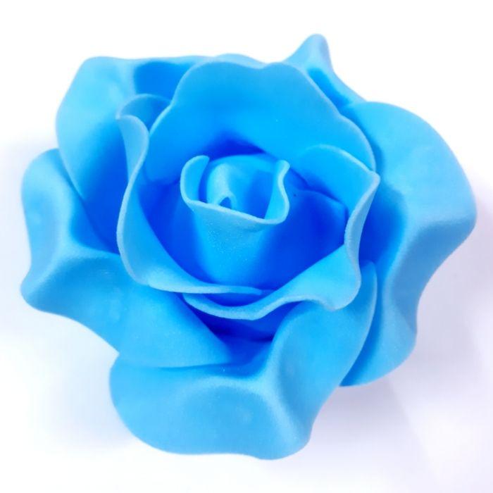 Роза из фоамирана голубая 9см для скрапбукинга