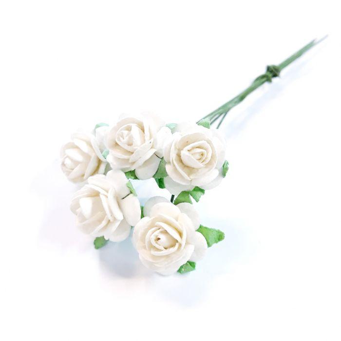 Розы белые 12 мм для скрапбукинга