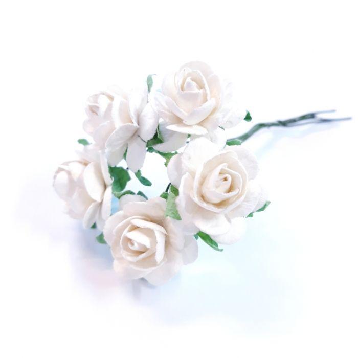 Розы белые 18 мм для скрапбукинга