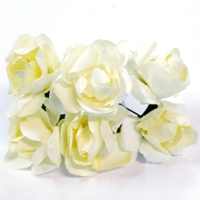 Розы бслоновая кость 30 мм для скрапбукинга