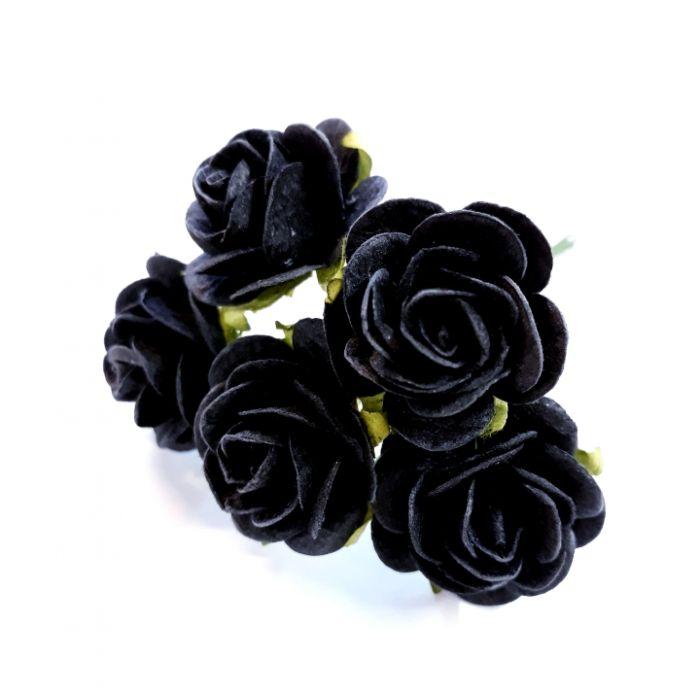 Розы черный как смоль 25 мм для скрапбукинга